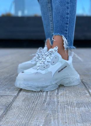 Balenciaga triple s white clear sole шикарные женские кроссовки