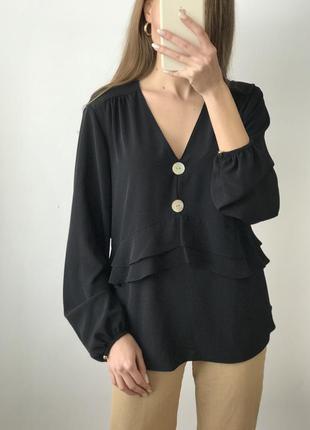 Рубашка блуза чёрная синяя объемная оверсайз воланы большие пу...