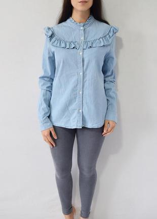 Джинсовая рубашка с рюшами denim co