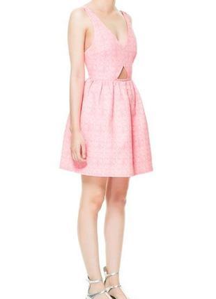 Жаккардовое розовое платье zara