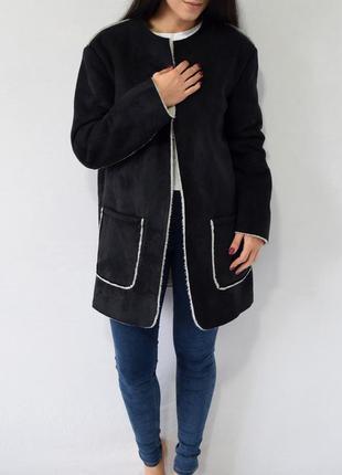 Пальто-кардиган с накладными карманами atm