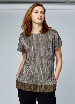 Металлизированная блузка футболка плиссе большой размер dunes