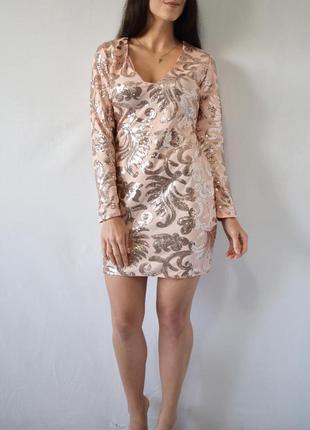 Платье в золотую пайетку