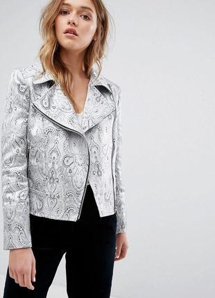 Стильный серебряный пиджак жакет косуха helene berman