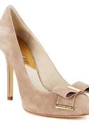 Кожаные замшевые нюдовые туфли michael kors
