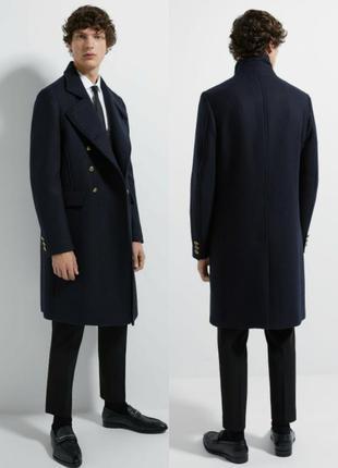 Двубортное шерстяное пальто zara man