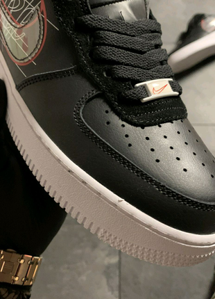 🔥 Nike Air Force 1 Black White Red .