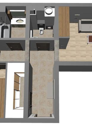 Технический дизайн (перепланировка, мебель, сантехника и элект...
