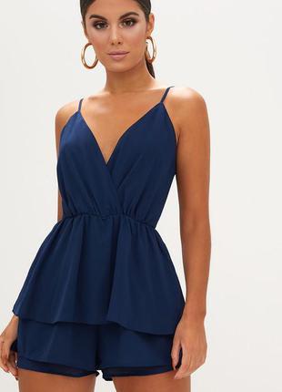 Синий ромпер шифоновый с оборками в стиле платья