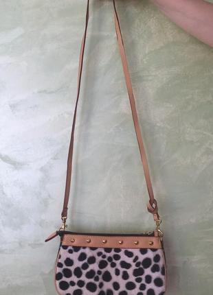 Стильная кожаная сумка с длинной и короткой ручкой, через плечо