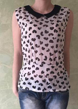 Очень красивая блуза/топ/майка, s/xs черно-белая блузка