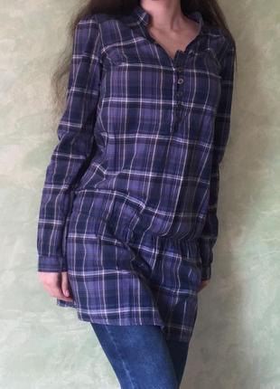 Рубашка в клетку, туника, платье, размер s/xs