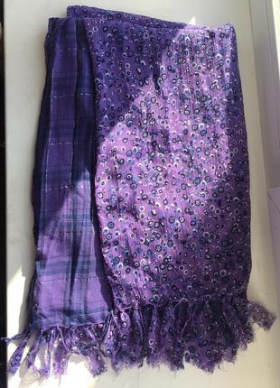 Двусторонний шарф в клетку, цветочный принт street one, фиолет...