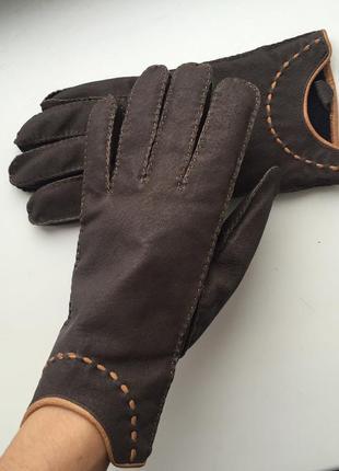 Кожаные женские перчатки, рукавиці шкіряні, коричневые