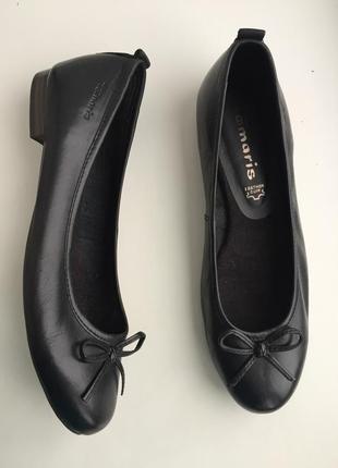 Кожаные балетки tamaris, туфли черные, р.38