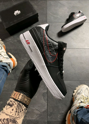 Nike Air Force 1 Black White Red