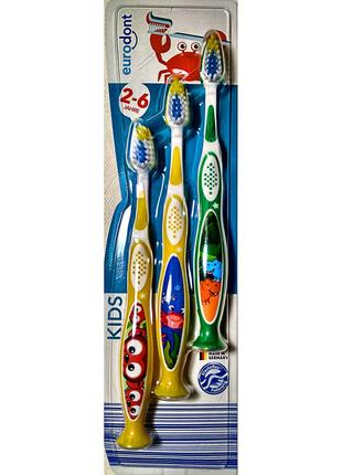 Детская Зубная щетка Euro Dont Kids от 2 до 6 лет 3 шт