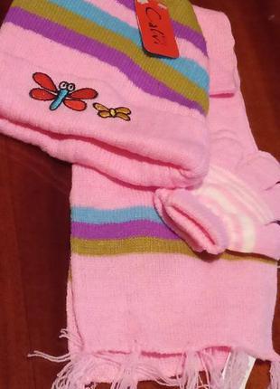 Яркий красивый комплект для девочки шапка шарф перчатки kids k...