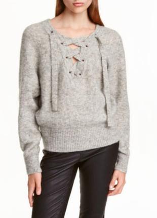 H&m шерстяной мохер свитер с завязками на груди серый