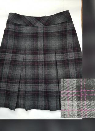 Новая шерстяная юбка в клетку серая юбка миди плиссе батал