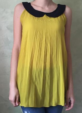 Легкая шифоновая блуза р.s, yessica желтая, плиссированная