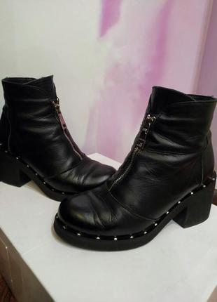 Ботинки кожа демисезон. шкіряні черевики, весна
