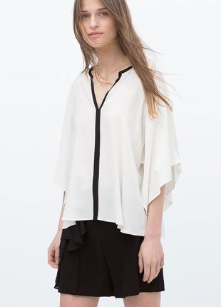 Стильная блуза zara , размер s,  черно-белая