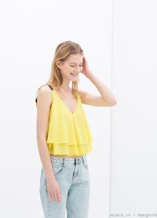 Яркая блуза легкая шифоновая топ zara  желтая