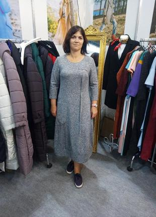 Свободное платье в бохо стиле season светло-серого цвета