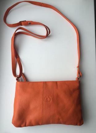 Кожаная яркая сумка через плечо, кросс-боди, оранжевая