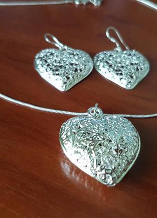 Комплект Сердце из сережек цепочки и кулона под серебро