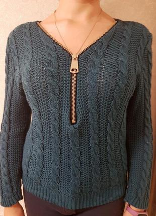 Пуловер женский со змейкой зеленый