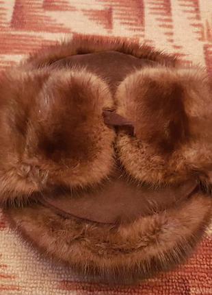 Мужская шапка ушанка норковая