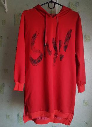 Скидка,   спортивная худи туника кофта красная размер м
