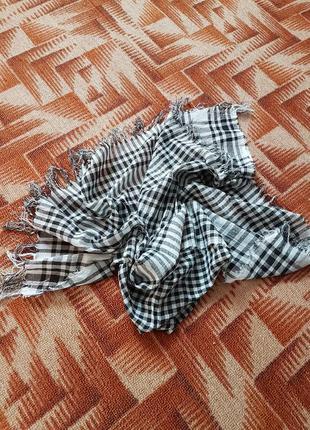 Арафатка платок шарф черно белый в клетку