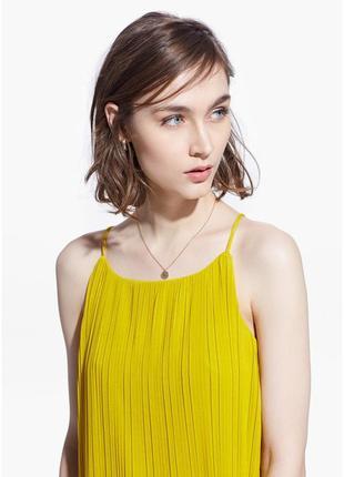 Плиссированная блузка mango топ блуза желтая р.м