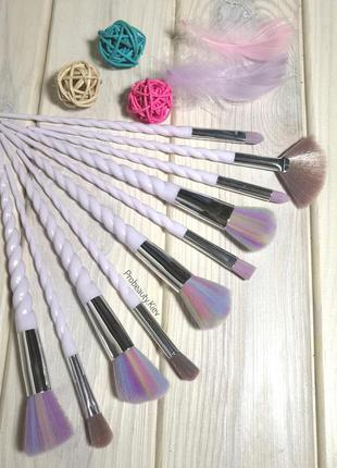 10 шт в чехле кисти для макияжа набор ручки в стиле рога едино...