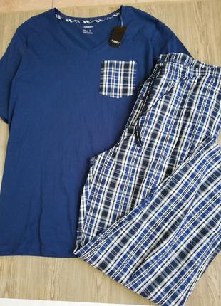 Качественная хлопковая пижама футболка и штаны livergy xxl