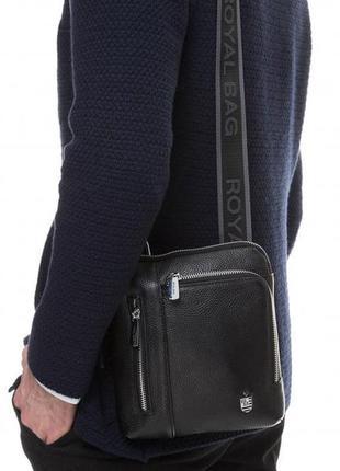 Компактная сумка мужская кожаная через плечо качественная стил...