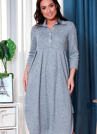 Платье ангора свободного кроя до 60 размера
