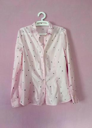 Стильная хлопковая рубашка розовая нежная с принтом