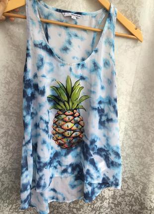 Стильная блуза с принтом тай-дай tally weijl р. s ананас майка