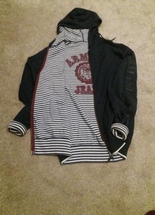 Теплая двухсторонняя кофта с капюшоом armani jeans m/s оригинал