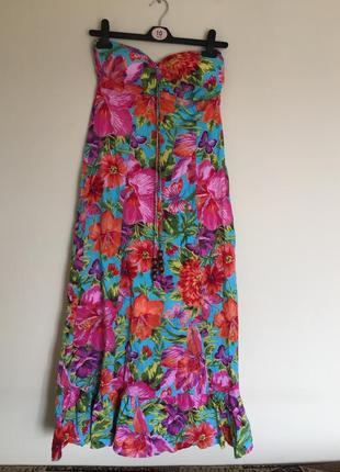 Яркое летнее платье макси сарафан длинное в пол р.l цветочный ...
