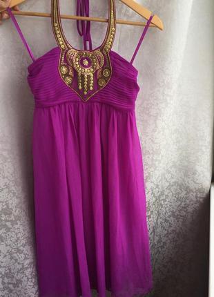 Нарядное платье h&m фуксия, р. xs/s шифоновое в греческом стиле