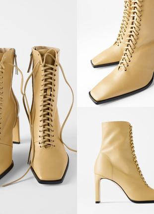 Кожаные ботинки zara на каблуке со шнуровкой