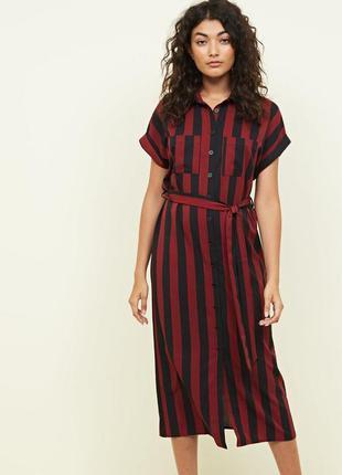 Платье в полоску. платье рубашка миди. new look