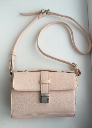 Стильная сумка через плечо, бежевая