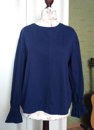блуза синяя M&S с длинным рукавом