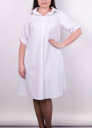 Размер 54-56! модное платье рубашка, белое, большой размер!